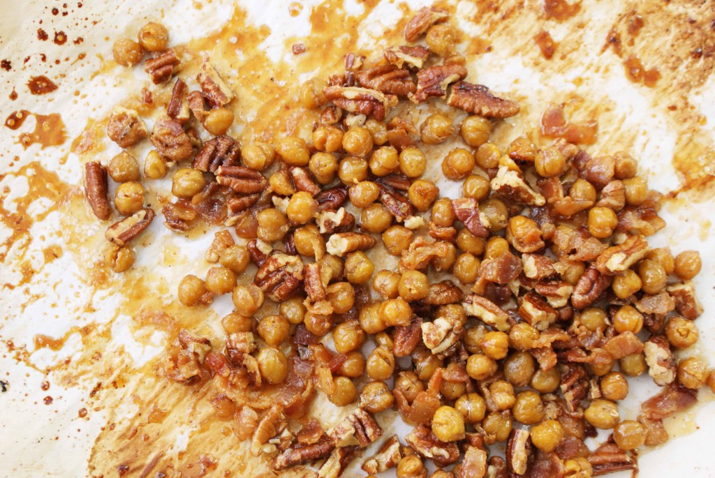 Chickpeas with bacon 1024x685 Roasted Chickpeas and Pecans with Bacon and Maple Syrup