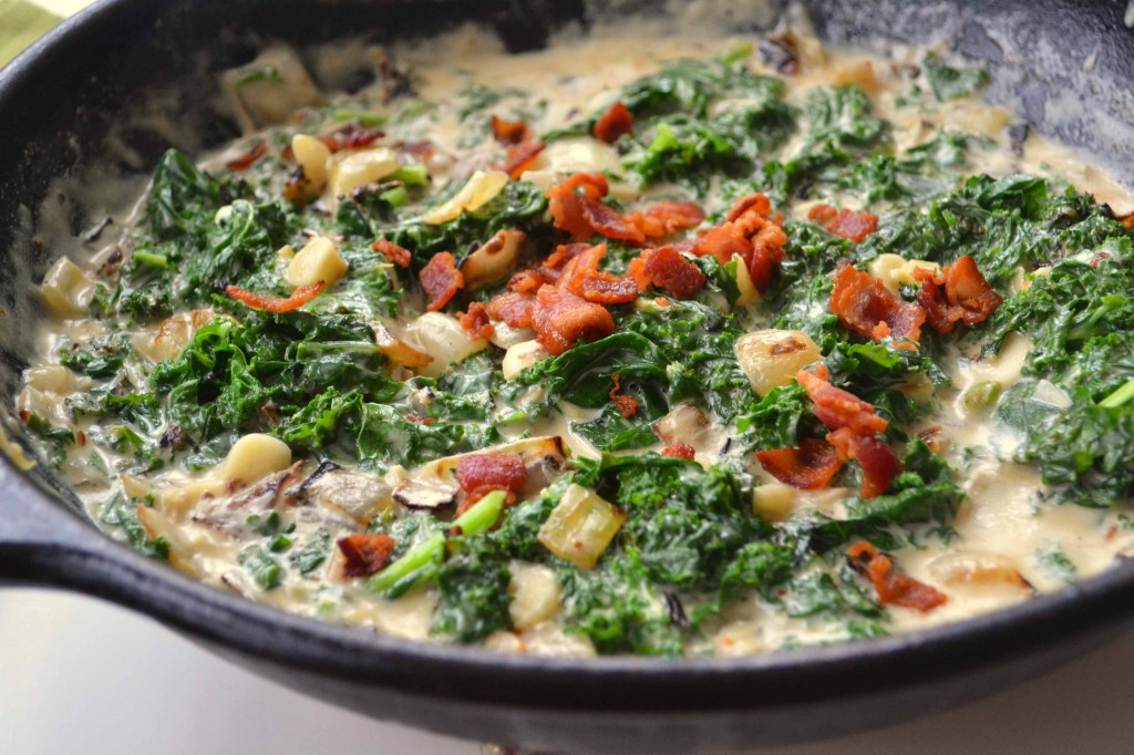 Creamed Winter greens 3 1024x682 Creamed Winter Greens with Bacon Béchamel