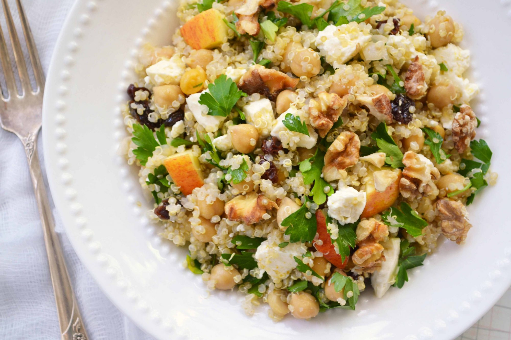 Quinoa salad w apples and feta Quinoa Salad with Chickpeas, Feta and Apples