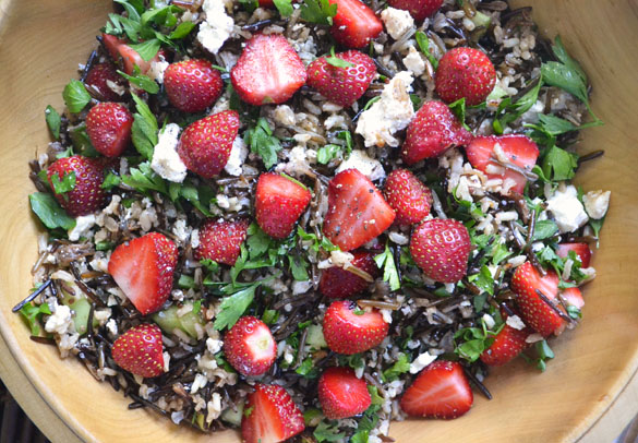 wild rice strawberry salad 1 Strawberry Wild Rice Salad with Feta & Maple Balsamic