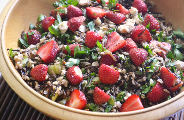 wild rice strawberry salad 2 Strawberry Wild Rice Salad with Feta & Maple Balsamic