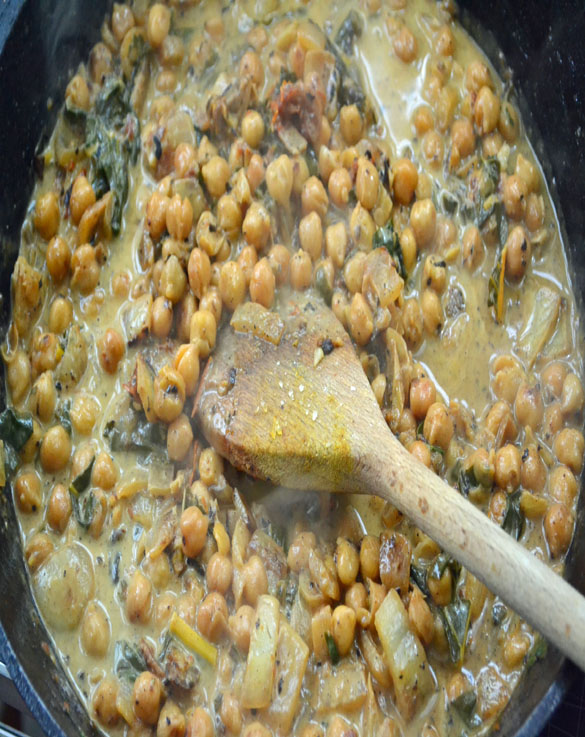 coconut braised chickpeas 4 Braised Chickpeas and Chard with Coconut Milk & Lemon