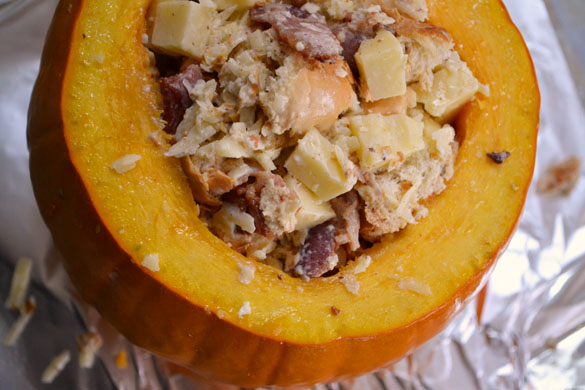 pumpkin stuffed with everything good 1 Roasted Pumpkin Filled with Everything Good