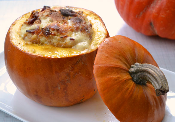 pumpkin stuffed with everything good 4 Roasted Pumpkin Filled with Everything Good