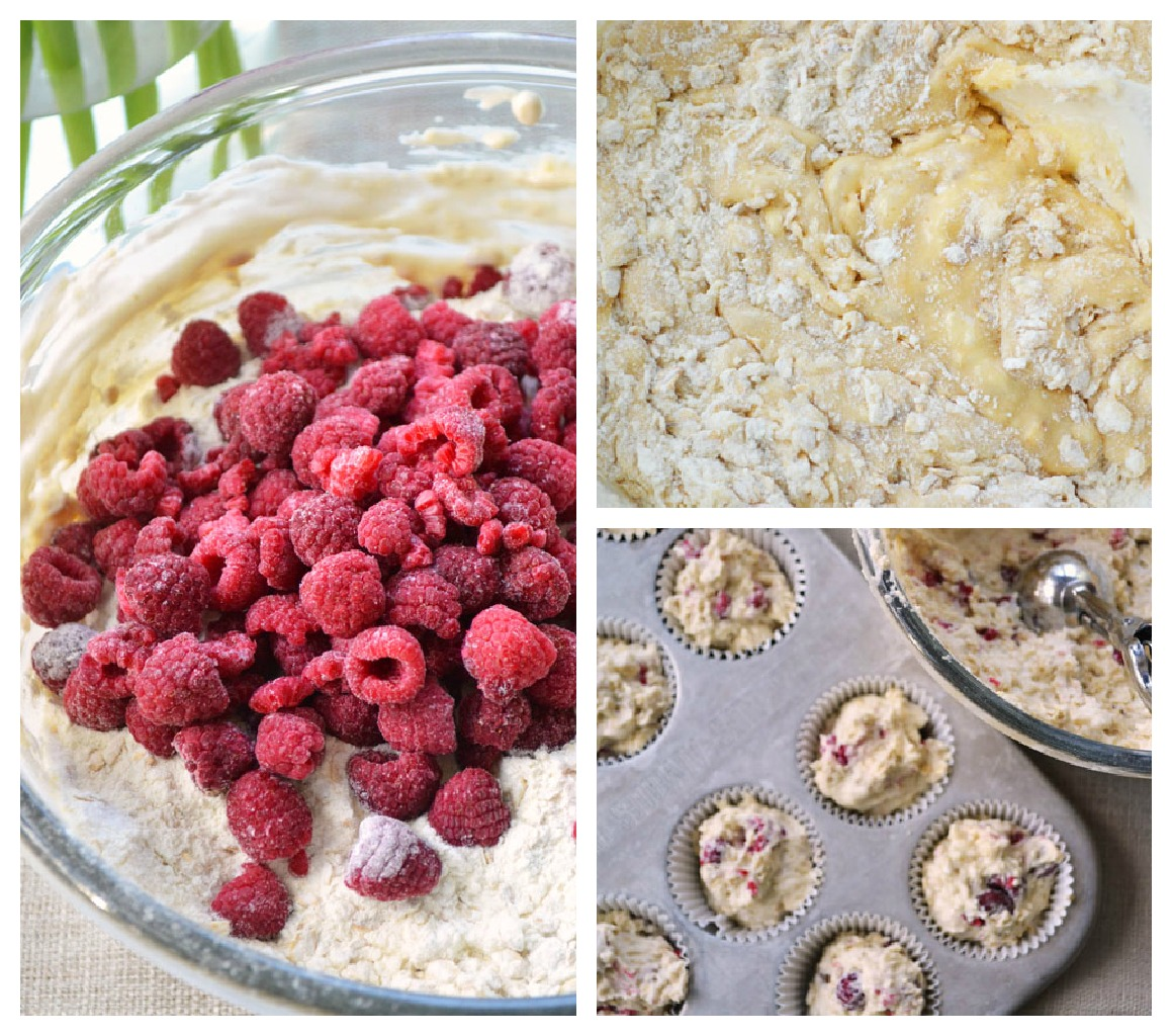 Heartland Raspberry Yogurt Muffin Collage Heartland Raspberry Yogurt Muffins