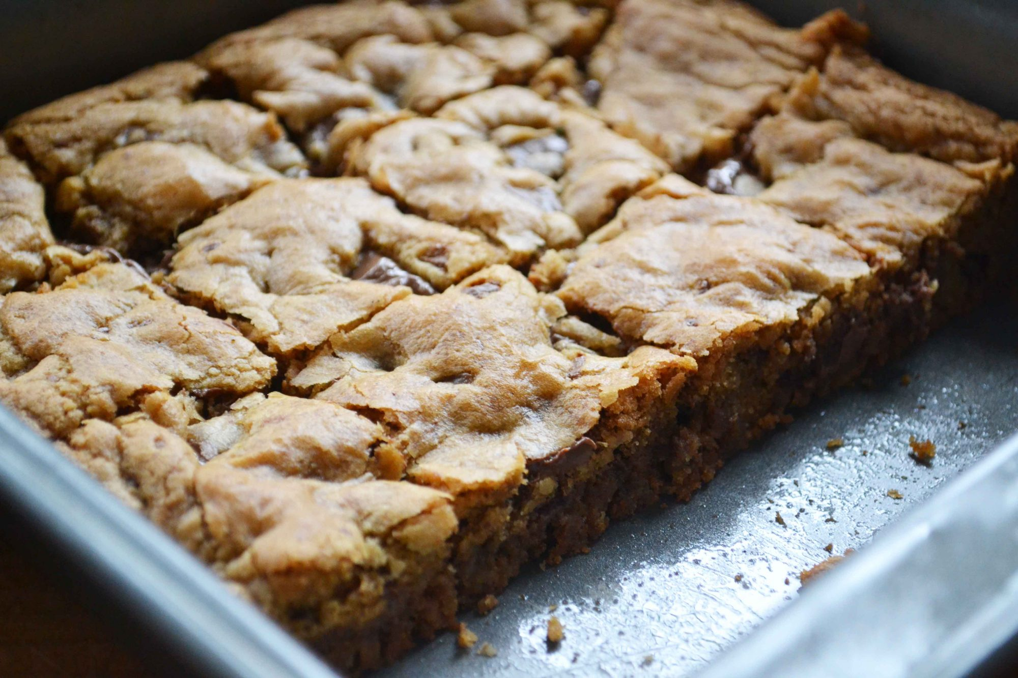 browned butter blondies cut Chocolate Chunk Browned Butter Blondies