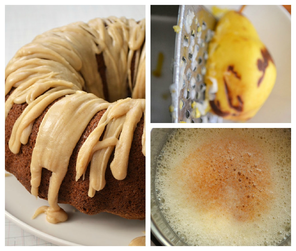 pear cake Collage1 Spiced Pear Cake with Browned Butter Fudge Dribble
