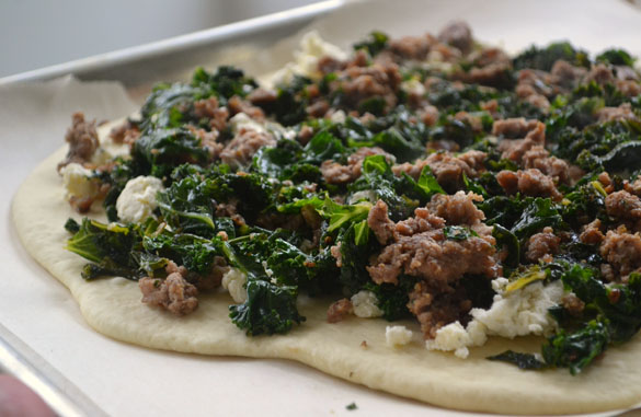 Lamb kale pizza 2 Crispy Lamb, Kale & Garlic Pizza