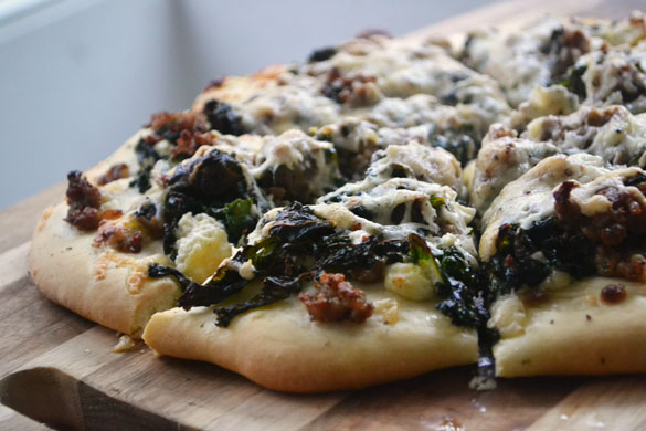 Lamb kale pizza 8 Crispy Lamb, Kale & Garlic Pizza