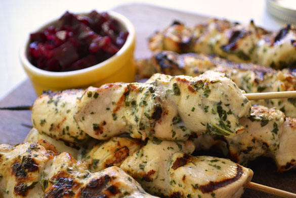 mint chicken kabobs 4 Grilled Ginger Yogurt Mint Chicken Skewers with Beet Chutney