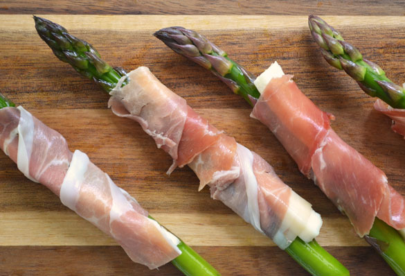 Wrapping asparagus 12 Days: Grilled Asparagus with Queso Fresco & Prosciutto