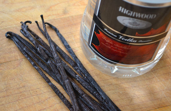 vanilla beans + vodka 1 Homemade Vanilla Extract