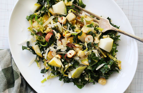 Browned butter brussels sprout salad 1 Browned Butter Kale Salad with Hazelnuts and Pears