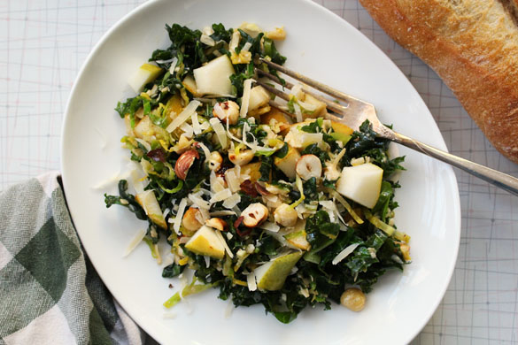 Browned butter brussels sprout salad 3 Browned Butter Kale Salad with Hazelnuts and Pears