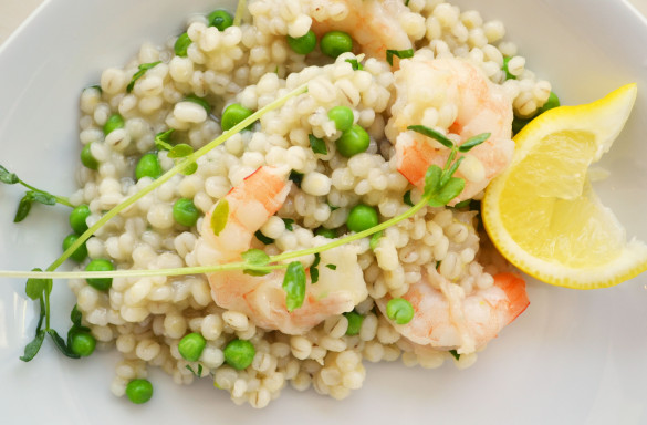 Barley Risotto 585x384 Barley Risotto with Shrimp and Peas