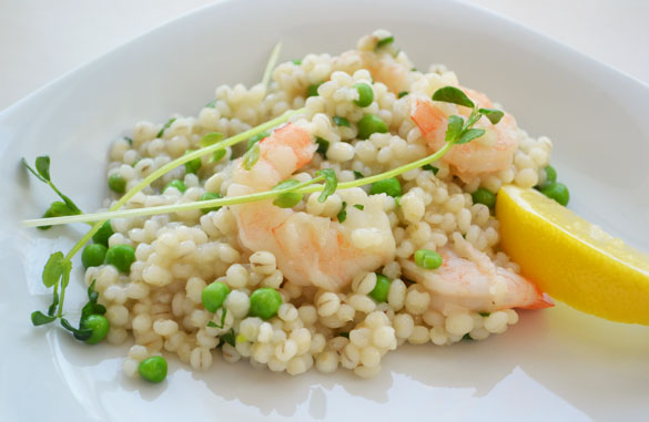Barley risotto 3 Barley Risotto with Shrimp and Peas