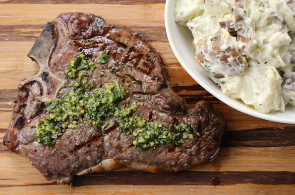 Steak with gremolata 6 Grilled Steak with Gremolata and Warm Potato Salad